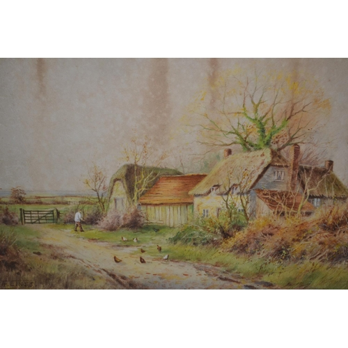 1022 - A. Lines, pair of watercolours, rural scenes with figures and farmhouses, 14ins x 20ins, one unframe...