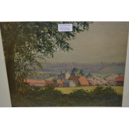 1024 - J.H. Powell, watercolour, harbour scene and an oil on board, view of a farmstead...