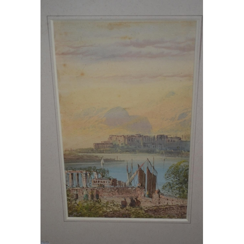 1026 - Pair of small framed watercolours, Continental landscapes, with figures in blue painted frames...
