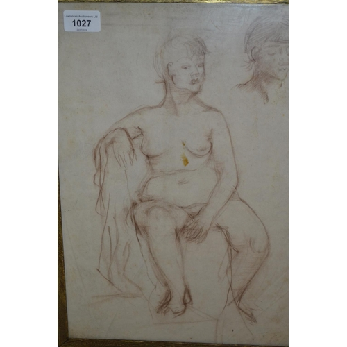 1027 - Red crayon nude study and a pencil drawing, nude study...