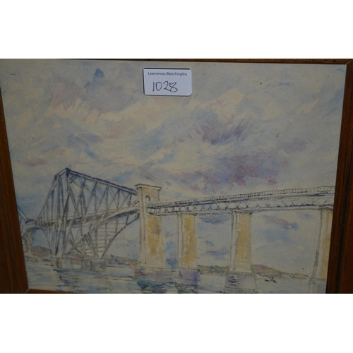 1028 - Pencil and watercolour, study of a plough team and another of the Forth Bridge...