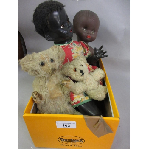 103 - Small Bing type mohair covered teddy bear, 6.75ins high (worn), together with another small later te...