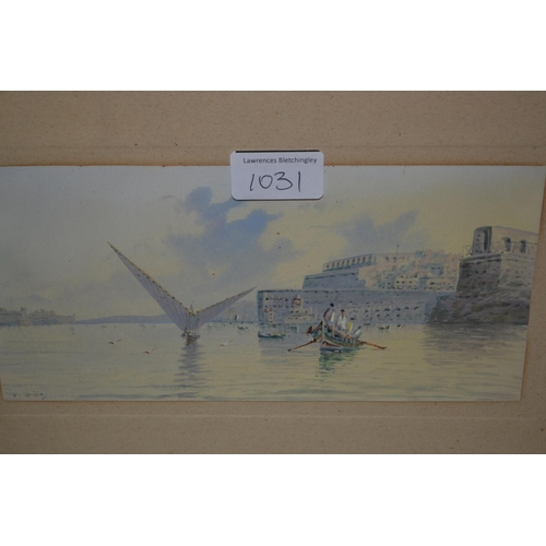 1031 - D' Esposito, watercolour, boats in a harbour, 4.5ins x 9ins, together with another similar, frames n...