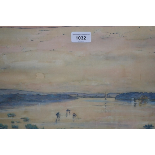 1032 - Watercolour on silk, figures in a paddy field, signed Henann and a pastel, boats at a Regatta...