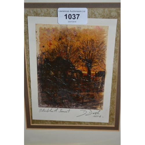 1037 - D. Dash, signed mixed media ' Blackheath Sunset ', together with three other pictures and prints by ...