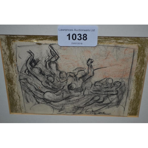 1038 - 20th Century Welsh school, small charcoal drawing, figure study, indistinctly signed...