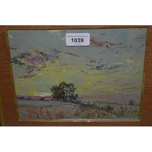 1039 - Pastel, sunset landscape, watercolour ' Quiet Birchington ' and one other watercolour...