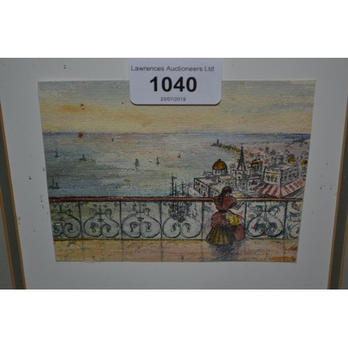 1040 - Small framed watercolour, girl on a balcony, three other small watercolours...