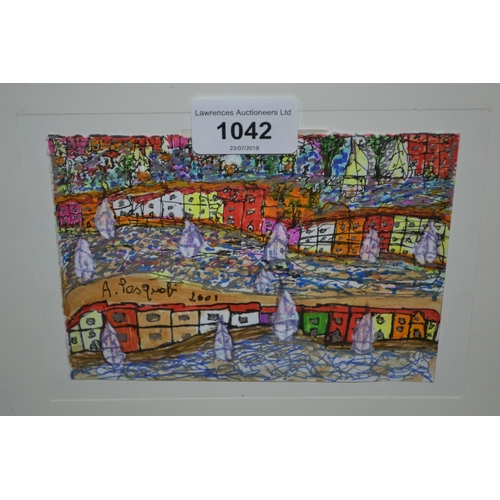1042 - Aldo Pasquali, mixed media, coastal houses and boats, together with another similar...