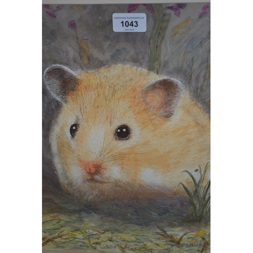 1043 - Watercolour, study of a hamster, watercolour, still life of flowers and two watercolour landscapes...