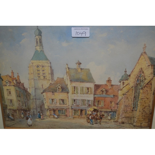 1049 - Pierre Le Boeuff, pair of watercolours, Continental street scenes, signed, 11ins x 14ins, gilt frame...