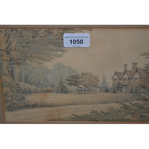 1050 - Small framed watercolour and pencil drawing, view of a country house in a landscape, together with A...