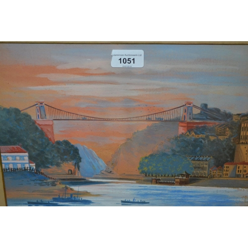 1051 - Early 20th Century gouache view of Clifton suspension bridge, 9.5ins x 121.5ins, gilt framed...