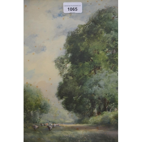 1065 - Charles Harrington, watercolour, pastoral landscape with cattle, signed, 14ins x 10ins, gilt framed...