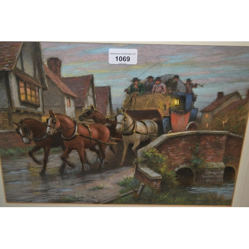 1069 - Alfred Montague Rivers, pastel, ' Nearing Home ', a stage coach crossing a bridge at dusk, signed, 1...