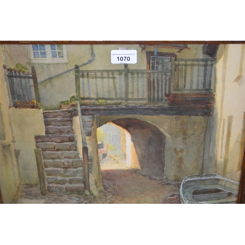 1070 - Ernest William Haslehurst, watercolour, a view through an archway with stone steps and fishermens' c...