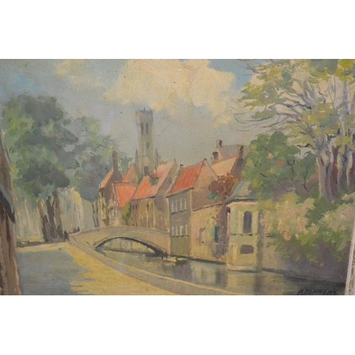 1071 - P. Johnson, 20th Century oil on canvas, Bruges canal scene, together with an unframed watercolour, C...