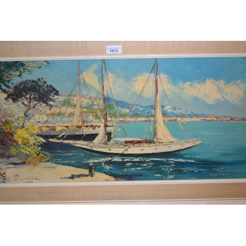 1072 - 20th Century oil on canvas, Mediterranean harbour scene, signed indistinctly, 15ins x 31ins, framed...