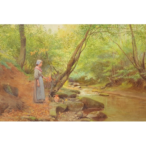 1074 - W. Maliphant, watercolour, an autumnal river scene with a girl with a jug standing beside a tree to ...