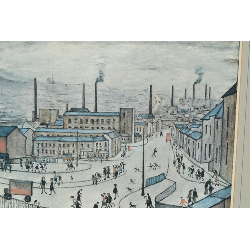1078 - L.S. Lowry, signed coloured print, an industrial townscape with figures in the street to the foregro...