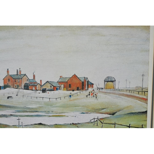 1079 - L.S. Lowry, signed coloured print, landscape with children playing before farm buildings, published ...