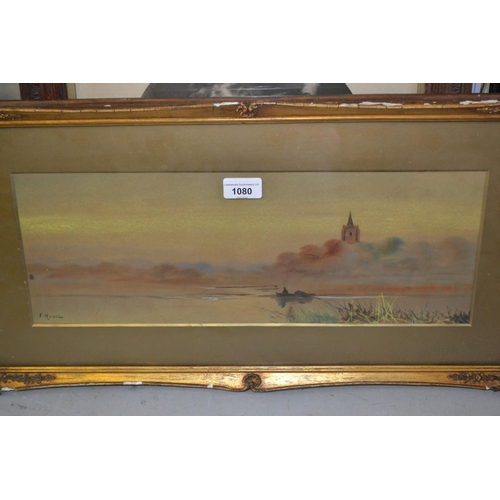 1080 - F. Nevil, gilt framed watercolour, figure in a boat on a river before a church, a pair of framed gro...