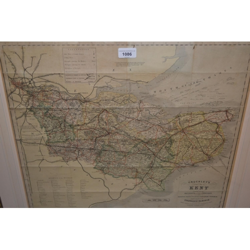 1086 - 19th Century hand coloured Cruchley's County map of Kent from Ordnance surveys, gilt framed, 19ins x...