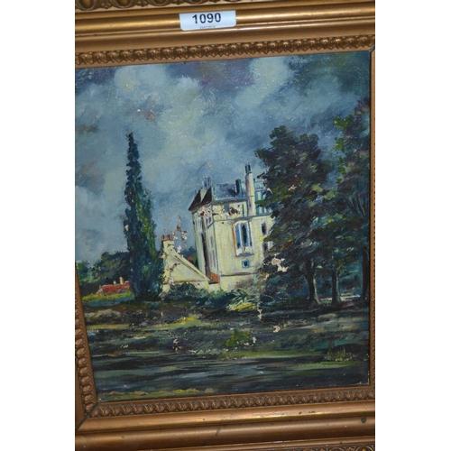 1090 - Oil on canvas, view of a chateau with river to the foreground, together with an oil on canvas, tree ...