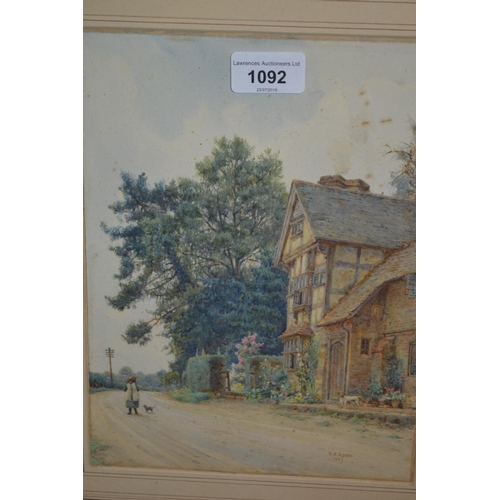 1092 - Ernest Arthur Rowe, watercolour, figure, cat and a dog before a timber framed building, signed and d...