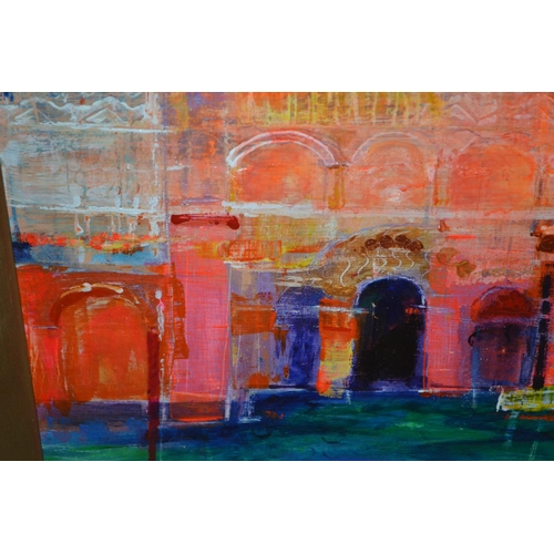 1094 - Acrylic on board, ' The Water Palace ', gilt framed, 8ins x 10ins, signed Howse...