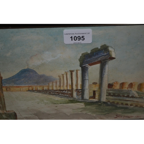 1095 - Small  20th Century watercolour of ruins, signed Gallo Giovanni, dated 1944, 6.5ins x 10ins, circula...