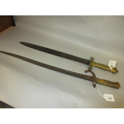 120 - French 1871 pattern bayonet together with an antique short sword, the blade inscribed Jean...