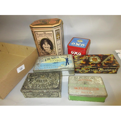 122 - Small group of vintage and reproduction advertising trade tins...