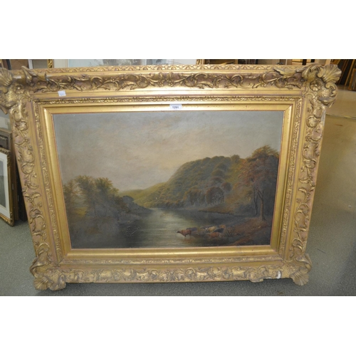 1291 - A.C. Rickwood, late 19th Century oil on canvas, river landscape with Highland cattle watering, signe...