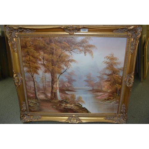 1292 - I. Cafieri, 20th Century oil on canvas, river landscape, signed, gilt framed, 19ins x 23ins, togethe...