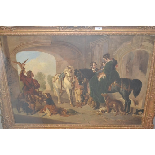 1293 - 19th Century oil on canvas, study of Queen Victoria and Prince Albert in a stable with children, a f...