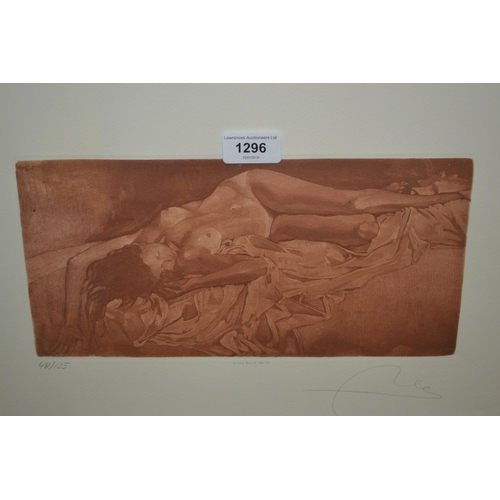 1296 - Pair of artist signed Limited Edition prints nude studies in simulated walnut frames, together with ...