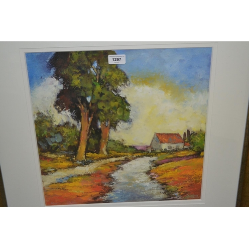 1297 - David Gainford, signed Limited Edition coloured lithograph Provence pathway, 16ins square, gilt fram...