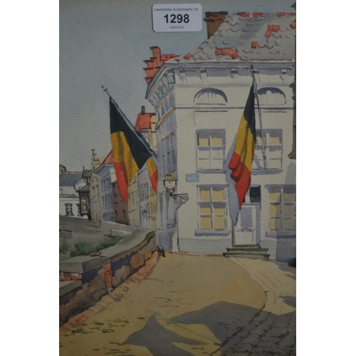 1298 - Dorothy W. Moore watercolour, Continental street scene, ' Bruges en fete ', signed and dated 1923, 1...