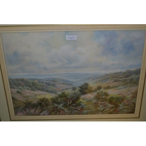 1300 - Two framed watercolours, figures with hens by  a cottage, signed Will Anderson ?, and view across a ...