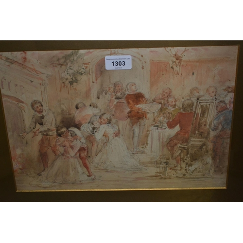 1303 - In the manner of David Wilkie, watercolour and pencil sketch, figures in a medieval interior, 10ins ...