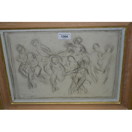 1304 - Charcoal and pencil drawing, figures dancing, signed Feigl, 10ins x 14ins...