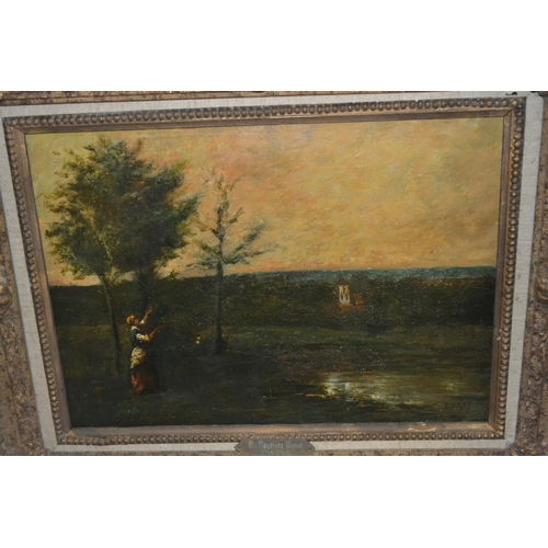 1305 - Miguel Canals after Corot, oil on canvas, figure in a landscape (Canals studio stencil verso), 13ins...