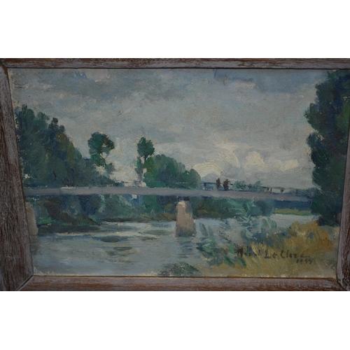 1308 - Two small framed oils, impressionist river landscape, signed Henry Leclerc, and study of wild flower...