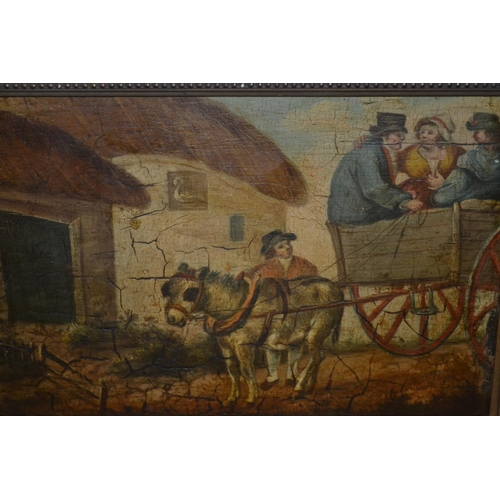 1311 - Early 19th Century naive style oil on panel, figures with a donkey and cart by a tavern, 7ins x 10.5...