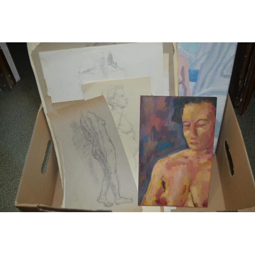 1312 - Hugh Griffiths signed oil on canvas, female nude, together with other oils and drawings, figure stud...