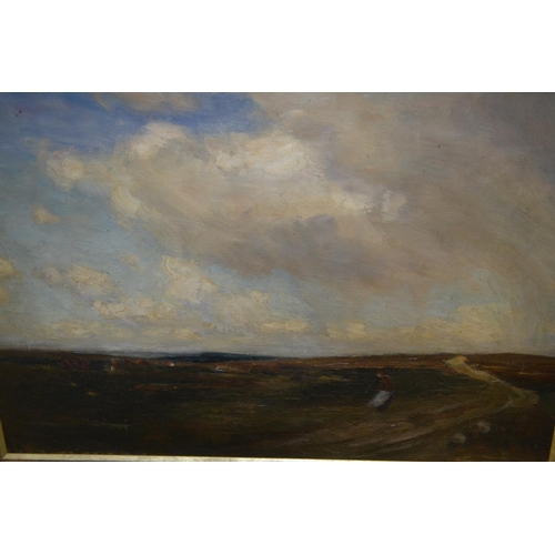1313 - J. H. Vignoles Fisher signed oil on canvas, figure in a windswept landscape, 14ins x 20ins, gilt fra...