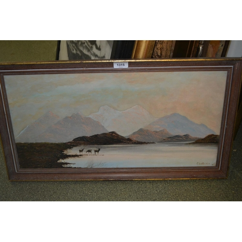 1315 - C. Leslie signed oil on canvas, deer by a highland loch, 12ins x 24ins...