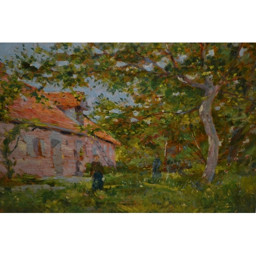 1316 - A. Cawen ? signed oil on panel, figures in a garden by a dwelling, 9.5ins x 13ins...