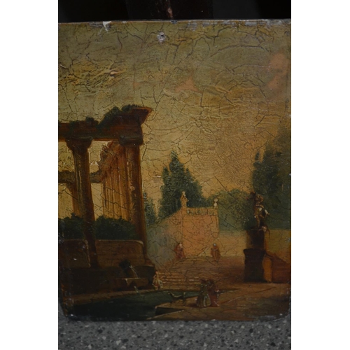 1317 - Two unframed antique oils on panel, figures in a classical garden, and figure with a dog on a countr...